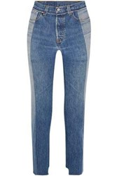 Vetements Levi's Two Tone High Rise Straight Leg Jeans Mid Denim