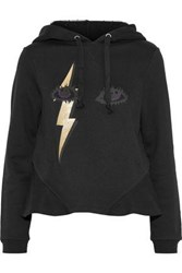 Red Valentino Metallic Printed French Cotton Blend Terry Hoodie Black