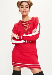 Missguided Red Contrast Striped Hooded Sweater Dress