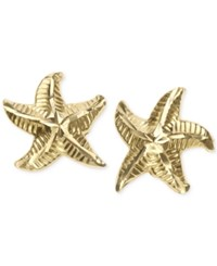 Macy's Patterned Starfish Stud Earrings In 10K Gold Yellow Gold
