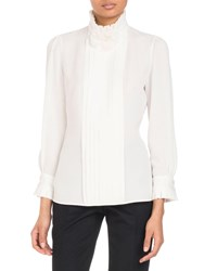 Andrew Gn Stand Collar Long Sleeve Pleated Silk Blouse With Flower Detail White