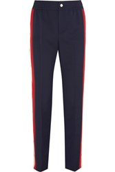 Gucci Striped Wool Blend Crepe Track Pants Navy