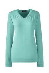 Lands' End Fine Gauge Supima Shirred V Neck Green