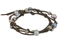 Chan Luu 12 Pearl Double Strand Leather Bracelet Peacock Grey Natural Grey Bracelet Black