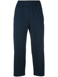 Alberto Biani Stretch Waist Cropped Trousers Blue