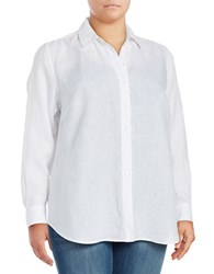 Lord And Taylor Plus Long Sleeve Linen Shirt White