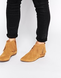 Warehouse Fringed Pointed Flat Boots Tan