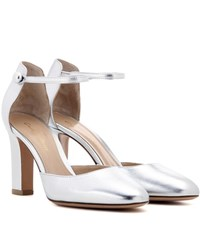 Gianvito Rossi 54 Mid Metallic Leather Pumps Silver