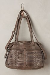 Anthropologie Woven Leather Satchel Grey