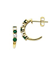 Lord And Taylor White Sapphire Emerald 14K Gold Hoop Earrings Emerald Gold