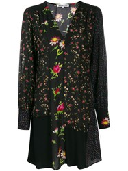 Mcq By Alexander Mcqueen Panelled Floral Dress Black