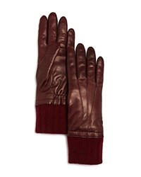 Bloomingdale's Cashmere Cuff Leather Gloves Burgundy