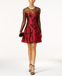 Guess Mesh And Floral Print Fit And Flare Dress Red Black