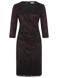 Kaliko V Neck Lace Dress Black Purple
