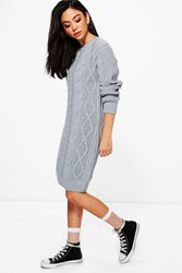 Boohoo Maddison Cable Knit Jumper Dress Silver