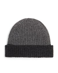 The Men's Store At Bloomingdale's Two Tone Cashmere Beanie Light Grey Mid Grey