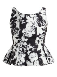 Erdem Kelsie Wide Neck Peplum Hem Top Black White