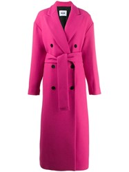 Msgm Double Breasted Overcoat Pink