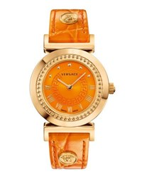 Versace Vanity Round Watch W Leather Strap Golden Orange