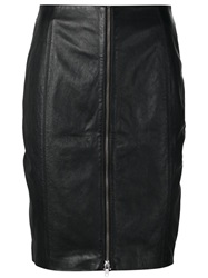 Blk Dnm Zip Detail Short Pencil Skirt Black