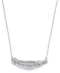 Inc International Concepts Silver Tone Pave Feather Collar Necklace Only At Macy's