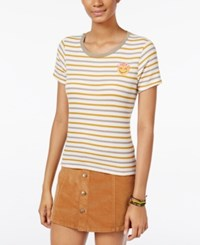 Be Bop Gypsies And Moondust Juniors' Striped Patch T Shirt White Cobble Camel
