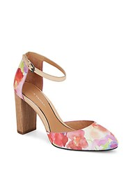 Elie Tahari Essex Floral Print Leather Ankle Strap D'orsay Pumps Natural Multi