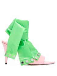 Christopher Kane Latex Strap Patent Leather Mules Pink Multi