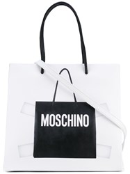 Moschino Shopper Tote Bag Women Leather One Size White