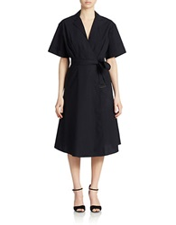 424 Fifth Belted Wrap Dress Black