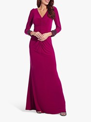 Adrianna Papell Embellished Draped Jersey Gown Red Plum