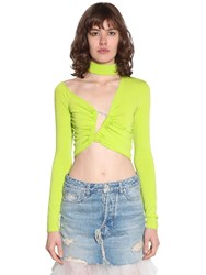 Unravel Cropped Asymmetric Stretch Jersey Top Lime Green