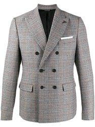 Daniele Alessandrini Checked Double Breasted Blazer Grey