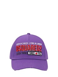 Dsquared Embroidered And Printed Cotton Canvas Hat Purple