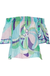 Emilio Pucci Printed Cotton And Silk Blend Voile Top