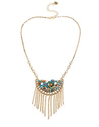 Betsey Johnson Weave And Sew Woven Mixed Multi Colored Bead And Floral Fringe Necklace