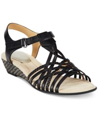 Easy Spirit Malawi Wedge Sandals Women's Shoes Black Multi