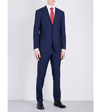 Corneliani Academy Fit Pinstripe Wool Suit Mid Blue