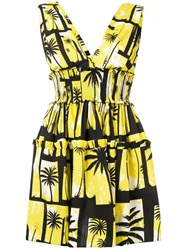 Fausto Puglisi Palm Tree Printed Dress Yellow