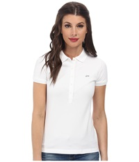 Lacoste Short Sleeve Slim Fit Stretch Pique Polo Shirt White Women's Short Sleeve Knit