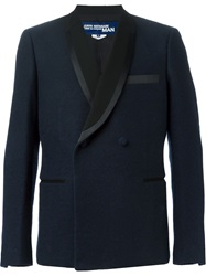 Junya Watanabe Comme Des Garcons Man Shawl Lapel Double Breasted Blazer Blue