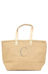 Cathy's Concepts 'Nantucket' Personalized Jute Tote Beige Natural C