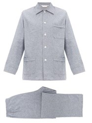 Derek Rose Kelburn Herringbone Cotton Twill Pyjama Set Light Blue