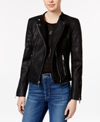 Guess Jazmin Saint Faux Leather Moto Jacket Jet Black Multi