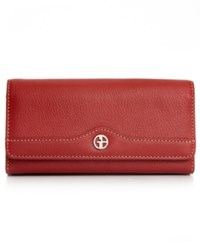 Giani Bernini Pebble Leather Receipt Wallet Red Silver