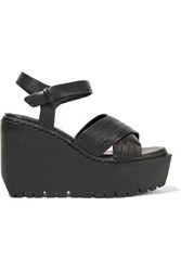Opening Ceremony Romee Leather Wedge Sandals Black