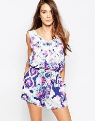 Neon Rose Playsuit With Button Front In Petal Print Blue Multi