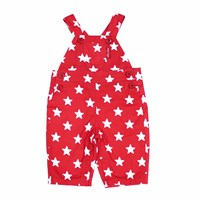 Toby Tiger Red Star Dungarees White Red