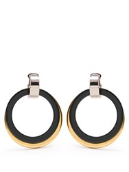 Marni Double Hoop Drop Clip On Earrings Green Gold