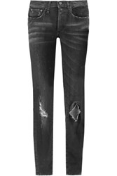R 13 R13 Mid Rise Distressed Skinny Jeans Black